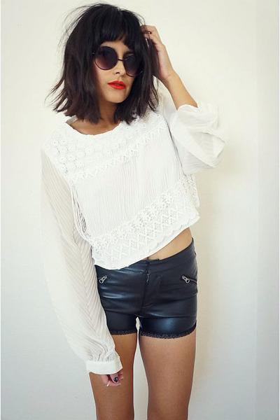 blouse - leathershorts shorts