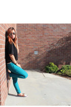 black t-shirt Guess shirt - turquoise blue colored pants papaya pants