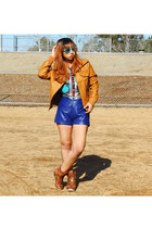 bronze leather zenana outfitters jacket - blue high wait Forever21 shorts