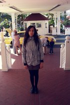 gray Old Navy coat - purple Timeless dress - black Steve Madden shoes