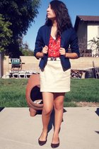 blazer - Urban Outfitters top - Forever21 skirt - Steve Madden shoes