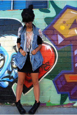 vintage vest - Charlotte-Russe shirt - Target skirt - H&amp;M shoes - Wet Seal glass