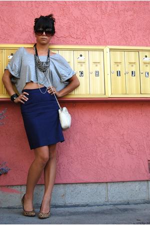 blue vintage Harem skirt - gray diy crop top Target shirt