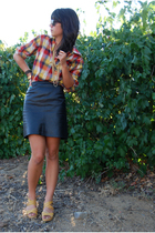 black leather vintage skirt - yellow Nine West shoes - red vintage shirt