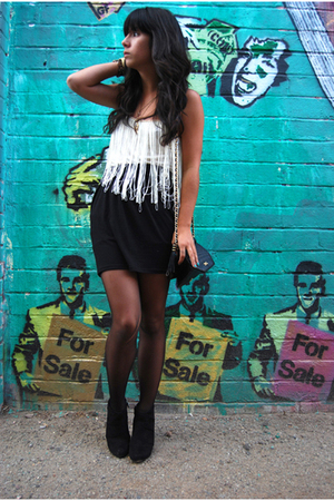 white Silence & Noise shirt - black ankle boots Payless shoes
