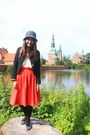 Gray-h-m-hat-black-mini-blazer-carrot-orange-h-m-skirt-chiffon-blouse