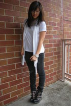 black Jeffrey Campbell shoes - black AG Jeans jeans - white t-shirt - white Esle