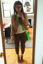 camel leather jacket Style by Marina jacket - light brown Nine West shoes
