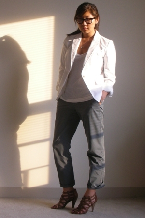 Express blazer - Madewell 1937 shirt - Theory pants - Nine West shoes
