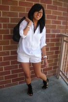 white JCrew shirt - white shorts - black Jeffrey Campbell shoes