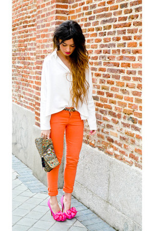 heels - jeans - purse - blouse