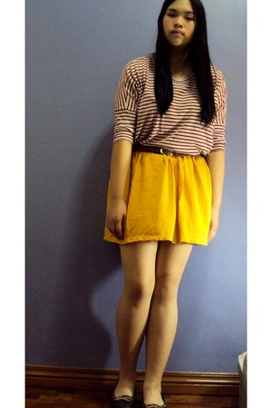mustard Zara skirt - red thrifted top