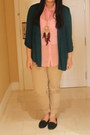 Teal-forever-21-cardigan-bubble-gum-sheer-jellybean-blouse