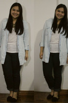 light blue denim H&M blouse - ivory pull&bear shirt - gold Forever 21 necklace