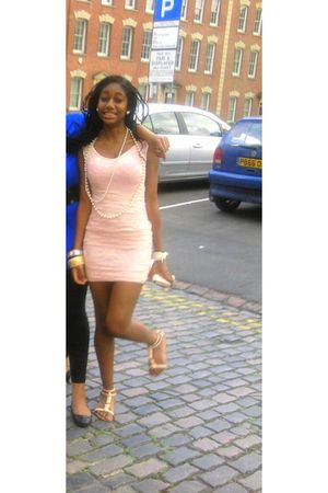 pink Topshopp dress - beige Primark shoes - beige Primark necklace