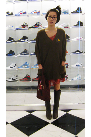 from Korea sweater - Bottega Veneta boots - H&M dress - Prada purse