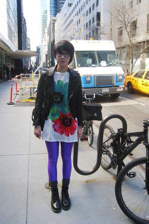vintage jacket - American Apparel leggings - Dr Martens boots - from Korea top -