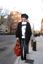 H&M coat - vintage hat - balenciaga purse - Urban Outfitters boots