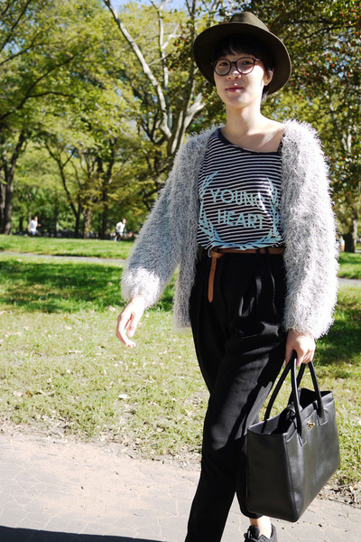 widfox t-shirt - no name cardigan from Korea - D&G belt - thrifted trousers - vi