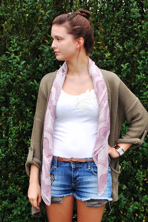 brown Bershka vest - white River Island top - pink H&M scarf - blue Zara shorts