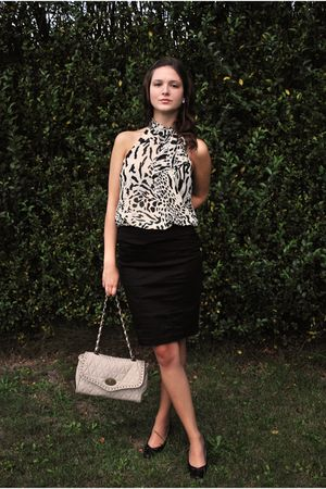 white H&M blouse - black H&M skirt - black Marco Tozzi shoes - beige new look ba