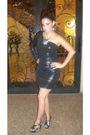 Silver-michael-kors-shoes-black-dress-bib-necklace-accessories