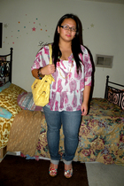 pink top - blue Levis jeans - pink xhilaration shoes - yellow purse - brown Fore