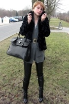 black Guess shoes - black H&M coat - gray vintage sweater