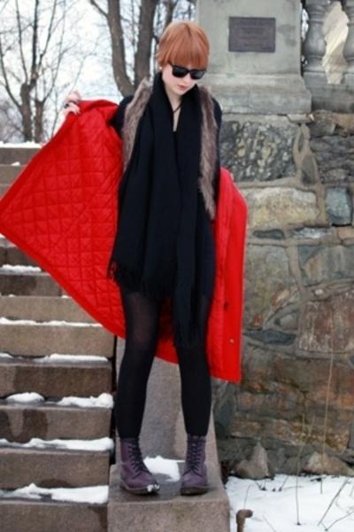vintage coat - American Apparel dress - vintage scarf - Dr Martens boots - Pimki