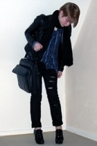 H&M jeans - shirt - New Yorker jacket - Din Sko shoes - H&M scarf - accessories