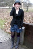 Pimkie blazer - H&M socks - H&M skirt - Topshop boots - H&M hat - vintage neckla