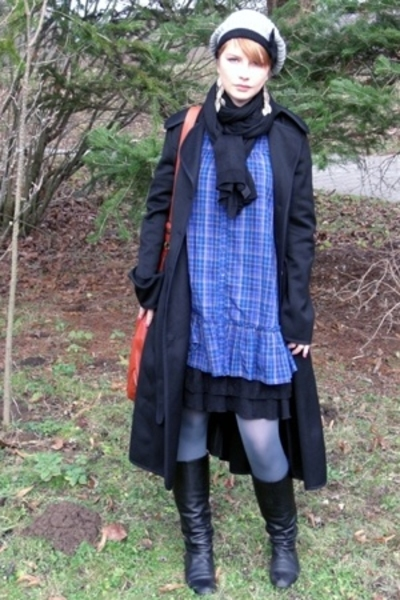 H&M dress - GINA TRICOT intimate - Indiska stockings - Valentino coat - boots -