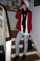 escada blazer - American Apparel t-shirt - Tally Wejl jeans - H&M scarf - Din Sk