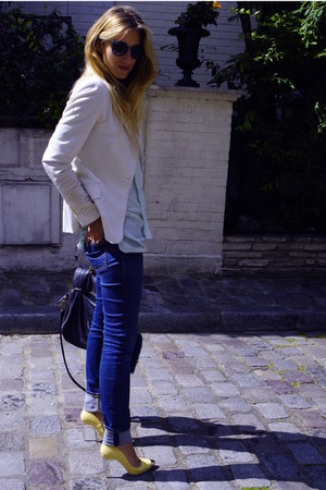 light yellow Zara shoes - navy acne jeans - white Zara blazer