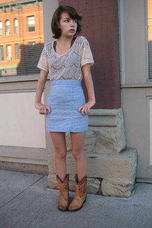 American Apparel shirt - self-made skirt - rockmount boots