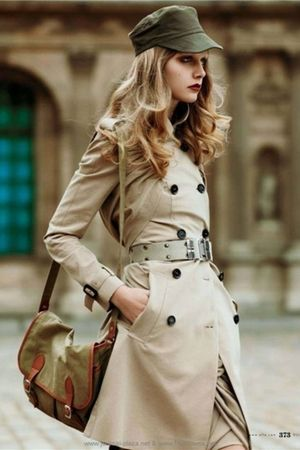 beige coat - green purse - beige belt - green hat