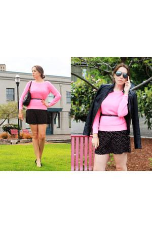 purse bag - Confetti print dress dress - Jacket jacket - Pink Sweater sweater