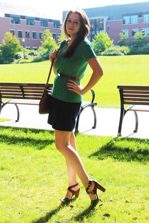brown vintage coach bag - navy merona dress - green Gap sweater