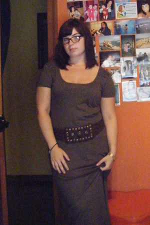 olive green Primark dress - dark brown Massimo Dutti belt