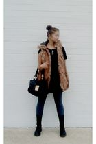 black American Apparel t-shirt - brown Zara vest - gray A-Land leggings - black