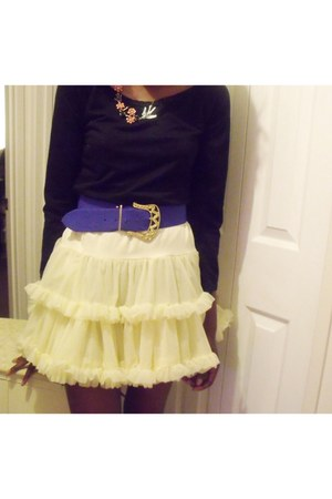cream American Apparel skirt - blue blue cloth big thrift belt - black Ebay top