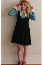 black Lady  la Mode Vintage dress - sky blue vintage dress