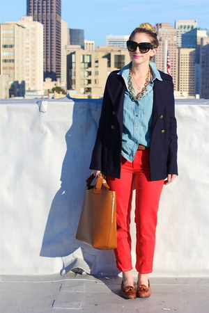 red trouser Anthropologie pants - navy pea Jcrew coat