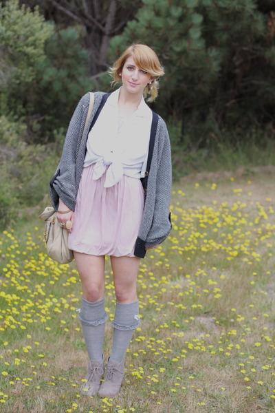 light purple pleated mini Forever21 dress - white polka dot vintage blouse