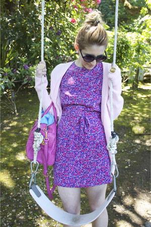 hot pink hot pink Marc Jacobs bag - purple vintage dress