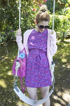 hot pink hot pink Marc Jacobs bag - purple vintage dress