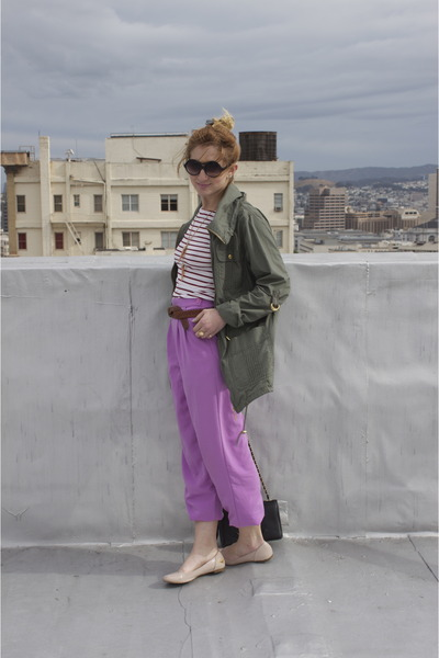 army green trench Primark coat - amethyst purple-pink vintage pants - red stripe
