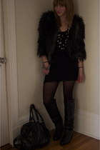 black ruffle dress Betsey Johnson dress - black stud boots Stuart Wetizmen boots