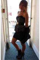 black Betsey Johnson dress - black Betsey Johnson shoes - black Michael Kors jac