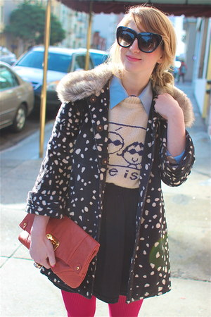 off white love is vintage sweater - navy faux fur lined Anthropologie coat